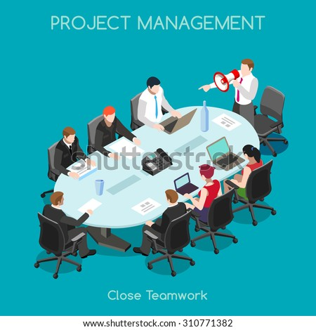Startup Teamwork Brainstorming Office Meeting Room. Interacting People Unique Isometric Realistic Poses. NEW bright palette 3D Flat Vector Icon Set. Setting New Goals - stock vector