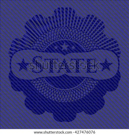 State emblem with denim texture - stock vector