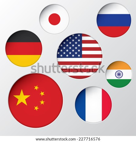 State flags in circle holes vector background.