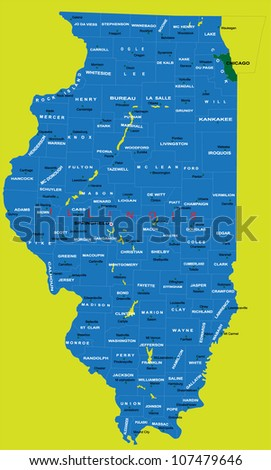 State Of Illinois Political Map Stock Vector