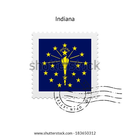 State of Indiana flag postage stamp on white background. Vector illustration.
