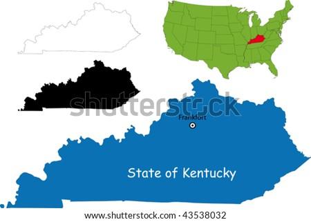 State of Kentucky, USA - stock vector