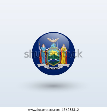 State of New York flag circle form on gray background. Vector illustration. - stock vector