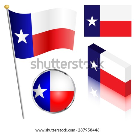 State of Texas flag on a pole, badge and isometric designs vector illustration.