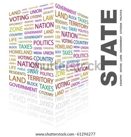 STATE. Word collage on white background. Illustration with different association terms. - stock vector