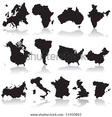 States and continents silhouettes - stock vector