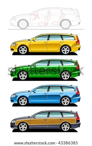 Station wagon- part of my collections  of Car body style. Simple gradients only - no gradient mesh - stock vector