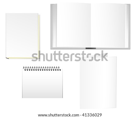 Stationaries of books, notepad and folder. Linear and radial gradients. EPS8. - stock vector