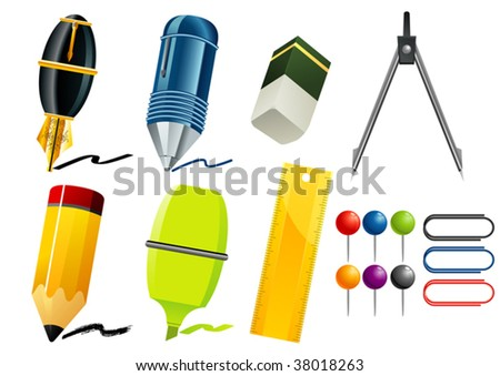 stationary items - stock vector