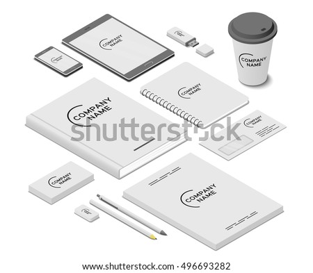 Stationery And Accessories Mock Up With Template Logo. Branding Design.  Mobile App,  Design Paper For Writing