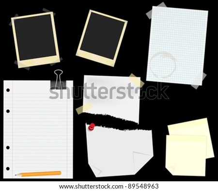 Stationery - Blank Aged Photo Frames, Lined, Squared and Ripped Papers  With Transparent Tape, Thumbtack and Memo Notes - isolated on Black - stock vector