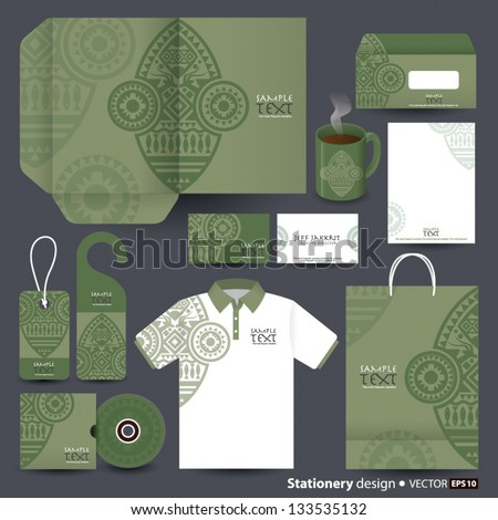 Stationery design set in vector format, African art. - stock vector