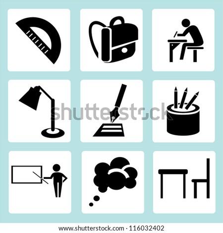 stationery, education icon set - stock vector
