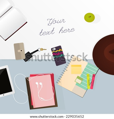 Stationery for student - stock vector