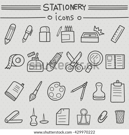 Stationery hand drawn set. Vector illustration of pencils, pens, erasers, colored, pencil sharpener, ruler, tape, glue, adhesive, cutter, scissors, magnifying glass, books, brushes, stamp, stapler, - stock vector