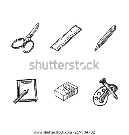 Stationery icon with ink hand drawn - stock vector