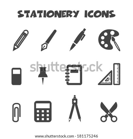 stationery icons, mono vector symbols - stock vector