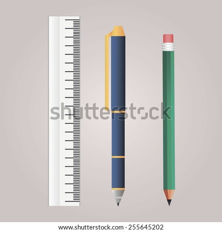 Stationery items. Pen, pencil and ruler  - stock vector