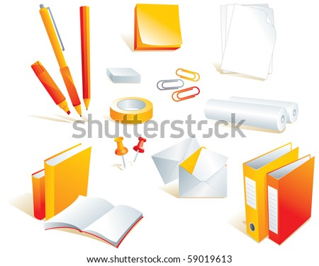 Stationery, office supply items, isolated objects. Vector illustration - stock vector