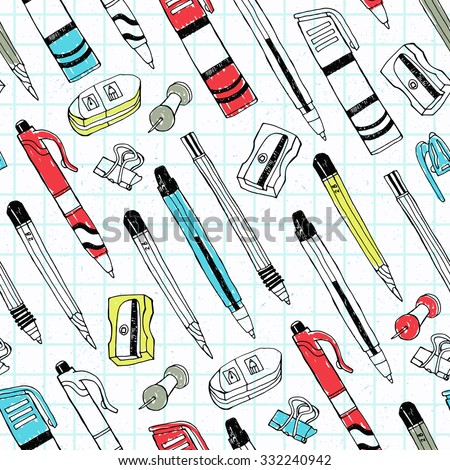 Stationery seamless pattern with pen, pencil, sharpener, marker, rubber. Vector illustration. Cloth design, wallpaper, wrapping. - stock vector