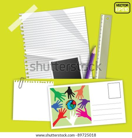 Stationery Set Design Vector - stock vector
