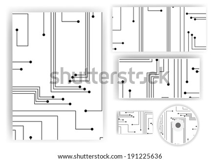 Stationery set for your design, circuit board digital Illustration. - stock vector