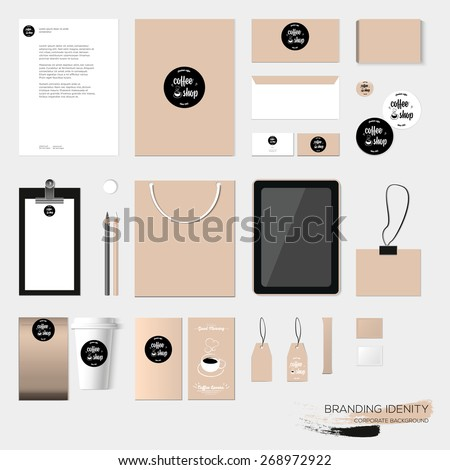 Stationery template design with coffee house elements.  With blank, name card, envelope, paper bag, tablet, badge, tag, menu, flyer, paper cup, box, sugar,  etc. Vector illustration modern design - stock vector