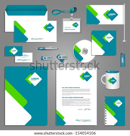 Stationery template design with square elements. Documentation for business. - stock vector