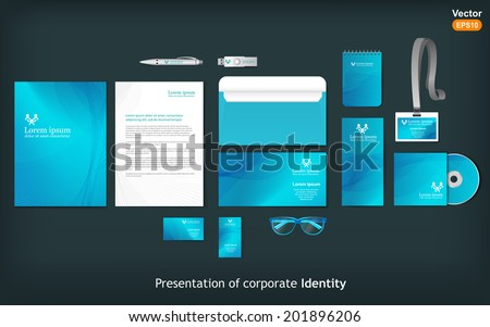 Stationery template design with waves. Documentation for business.  - stock vector