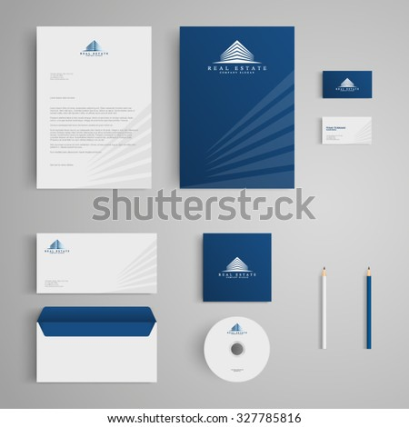 Stationery template with real estate logo, apartment, house, rental, condo. Corporate, identity, company, branding, cd, business card, envelope, leaflet, letterhead, folder. Clean and modern style - stock vector