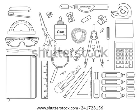 Stationery tools: pen, binder, clip, ruler, glue, zoom, scissors, scotch tape, stapler, corrector, glasses, pencil, calculator, eraser, knife, compasses, protractor, sticky notes. Contour lines - stock vector