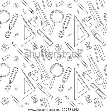 Stationery tools seamless vector line art pattern: eraser, clip, binder, pencil, knife, magnifying glass, green marker, usb flash drive, yellow marker, sharpener, stapler, triangular ruler, paper clip - stock vector