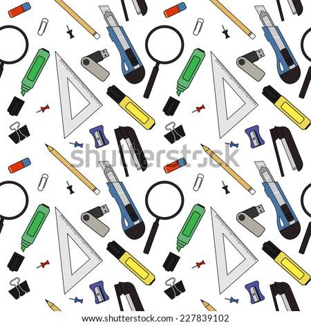 Stationery tools seamless vector pattern: eraser, clip, binder, pencil, knife, magnifying glass, green marker, usb flash drive, yellow marker, sharpener, stapler, triangular ruler, paper clip - stock vector