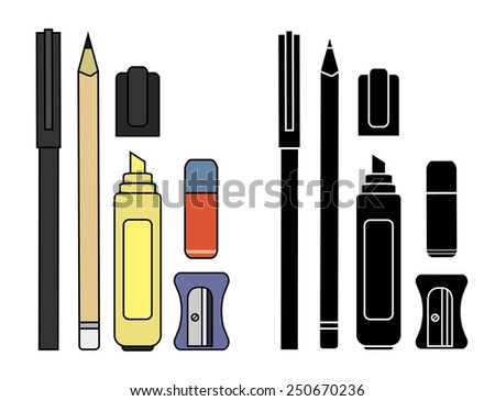 Stationery writing tools set. Pen, pencil, yellow marker, eraser, sharpener. Vector color and silhouette clip art illustration isolated on white  - stock vector
