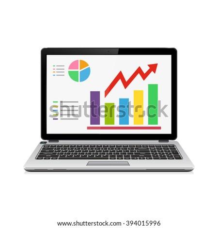Statistic analysis on modern laptop screen. Finance statistics report. - stock vector
