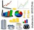 Statistic graphs tool kit - stock vector