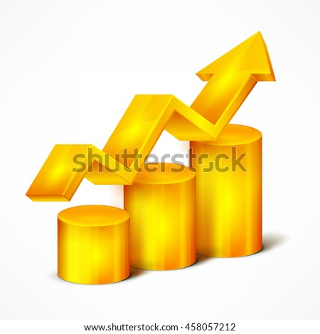 Statistic yellow chart with arrow on white vector illustration - stock vector