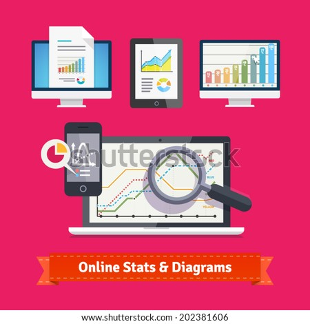 Statistics schemes and diagrams on a mobile devices. E-commerce and online metrics tracking. Flat icon set. EPS 10 vector. - stock vector