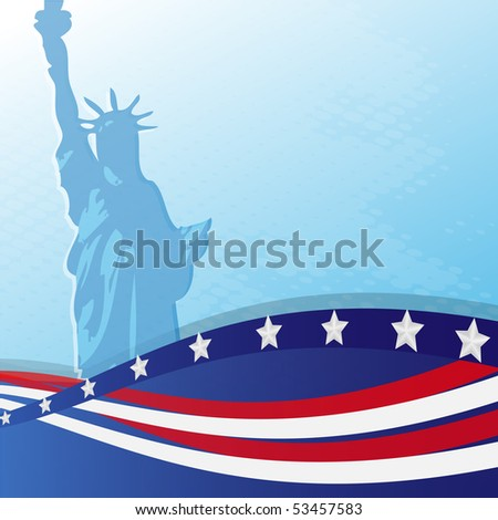 Statue and flag USA on a blue background