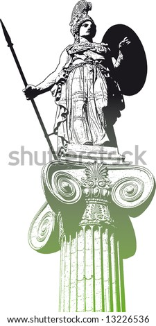 Statue of Athena - stock vector