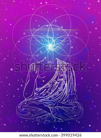 Statue of Buddha in the lotus position, meditation. Geometric element hand drawn. Psychedelic Poster in the style of 60's, 70's. Sacred Geometry. Promoted peace and love. - stock vector