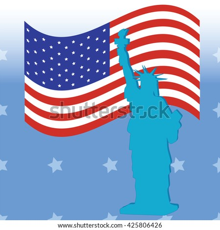 Statue of Liberty American flag on a blue background vector American Independence Day July 4