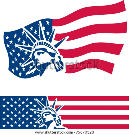 Statue of Liberty. American symbol. American flag. USA. Freedom. - stock vector