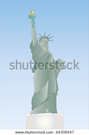 statue of liberty ( background on separate layer ) - stock vector
