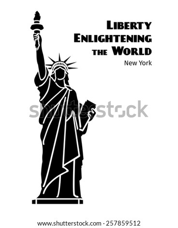 Statue of Liberty black isolated silhouette. Liberty enlightening the world. Vector illustration