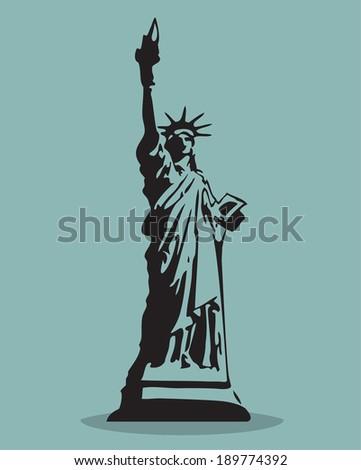 Statue of Liberty Black Silhouette Vector Illustration.  - stock vector