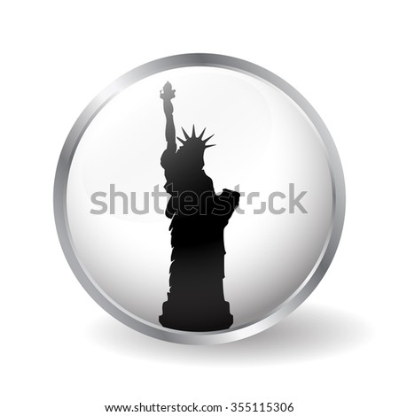 Statue of Liberty button in New York vector