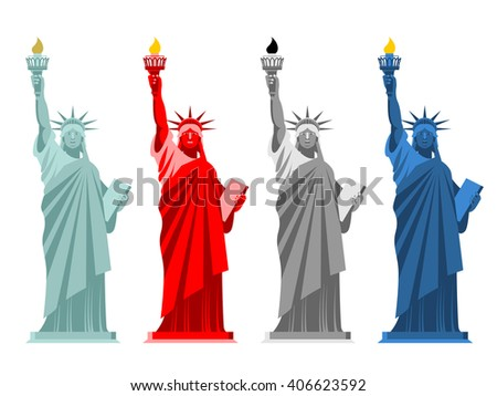 Statue of Liberty. Colorful attraction in America. Color options for USA national symbol. Monument of architecture in New York - stock vector