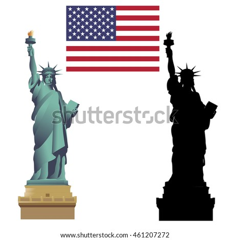 Statue of Liberty. Flag of the United States of America. Isolated on white, vector illustration. Silhouette