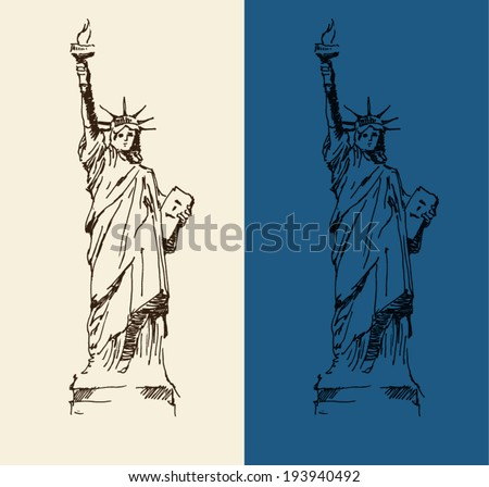 Statue of Liberty hand drawn vintage engraved illustration sketch